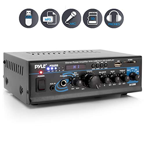 Home Audio Power Amplifier System – 2X120W Dual Channel Mixer Sound Stereo Receiver Box w/RCA, USB, AUX, Headphone, Mic…
