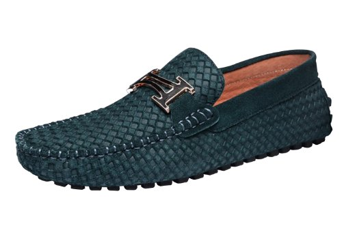 Happyshop (tm) Mocassino In Pelle Da Uomo In Pelle Business Casual Slip-on Mocassino Driving Cars Shoes Size38-45 Verde Pavone