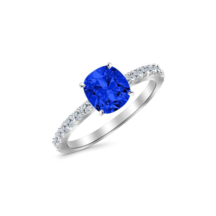 1.33 Carat Classic Sidestone Pave Set Diamond Engagement Ring 14K Gold with a 1 Carat Cushion Cut AAA Quality Blue Sapphire (Heirloom Quality)