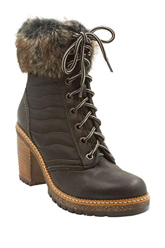 - VINTAGE HAVANA Women's Sadie Quilted Boot with Faux Fur Trim, Black, 7.5