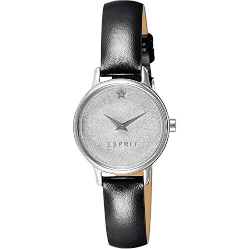 ESPRIT WOMEN'S 28MM BLACK LEATHER BAND STEEL CASE QUARTZ WATCH ES109282001