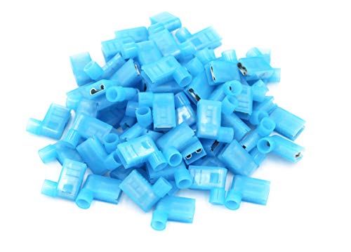 (100pcs 90 Degree Nylon Insulated Female Push On Wire Terminal Connector 16-14 AWG)