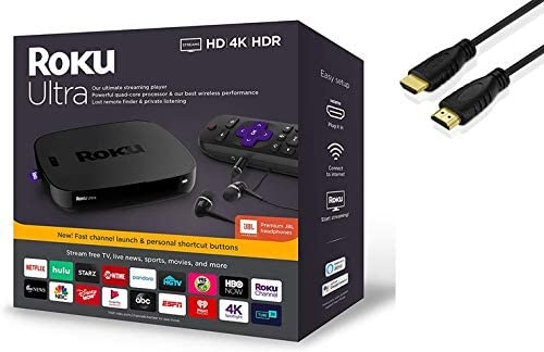 Roku Ultra Streaming Media Player 4K/HD/HDR | Premium JBL Headphones | Enhanced Voice Remote with TV Controls and Shortcuts | HDMI, Ethernet, and Micro SD Ports | 4K HDMI Cable Bundle
