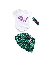 Kehen- Infant Baby Toddler Girl Summer Outfit One Mermaid Set Short Sleeve Romper+Mini Skirt+Bow Headband