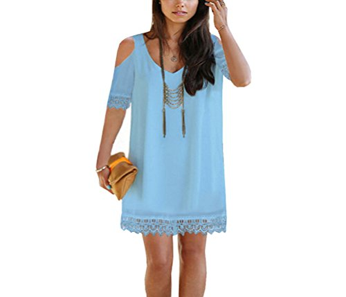 Buy light blue and black lace dress - 6