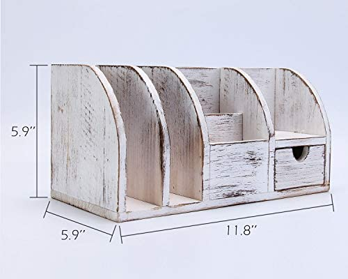 IBWell 12″ Rustic Wood Desktop Accessories Organizers Holder for Pen Pencil – Vintage Desk Organizer with Drawer Supplies Rack 4107OxGZOeL