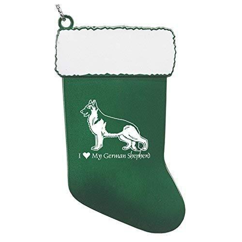 - Pewter Christmas Stocking Ornament-I love my German Shepherd-Green