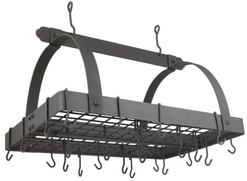 Old Dutch Rectangular Hanging Pot Rack with Grid & 24 Hooks, Graphite, 30' x 20.5' x 15.75'