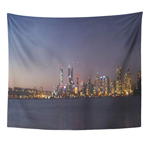 Semtomn Tapestry Artwork Wall Hanging Night Perth City Skyline Swan River Vacation Light Australia 60x80 Inches Home Decor Tapestries Mattress Tablecloth Curtain Print]()