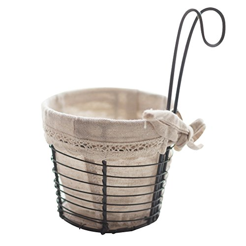 2PCS Iron Baskets, Hanging Kitchen Cabinet Storage Basket with Canvas Lining Bath Wall Mounted Rack Holder Organizer with Handle Home Decor