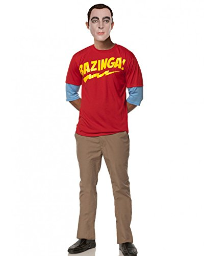 Mystery House Sheldon's Bazingang Outfit, Red/Beige/Yellow, Large -