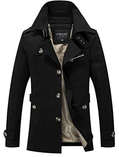 A Uomo Monopetto Abbigliamento Giacca Kangqi Da Vento Trench Rivestimento Con Quadretti Black aXSSTw