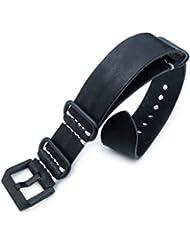MiLTAT 24mm G10 Grezzo SQ ZULU Watch Strap, Nero Black Geniune Calf Leather, PVD
