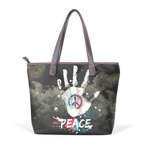 - Women Large Tote Top Handle Shoulder Bags Peace Sign Ladies Handbag