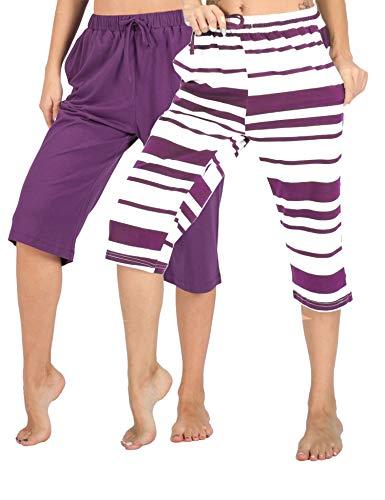 Pants Sleepwear - WEWINK CUKOO 100% Cotton Women Pajama Capri Pants Lounge Pants with Pockets Sleepwear (Purple+ Purple Stripe, XL=US 16-18)