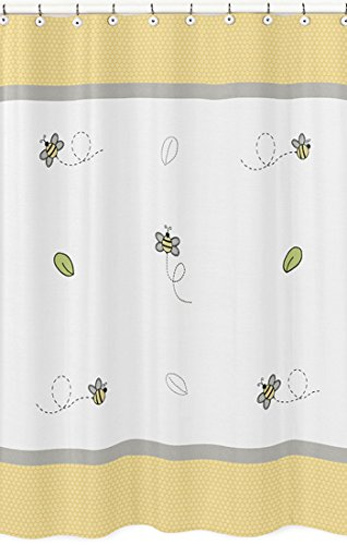 Sweet Jojo Designs Yellow Gray And White Honey Bumble Bee Bathroom Fabric Bath Shower Curtain