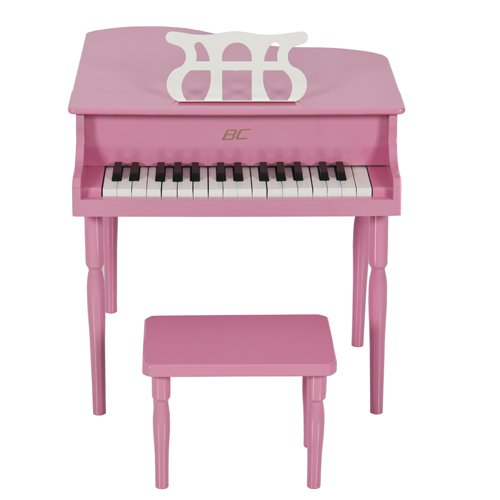 Amazon.com: Pink Childs Wood Toy Grand Piano with Bench Kids Piano ...