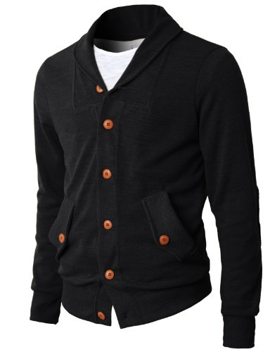 H2H Mens Slim Fit Shawl Collar Cardigan Sweater Of Contrast Color Buttons