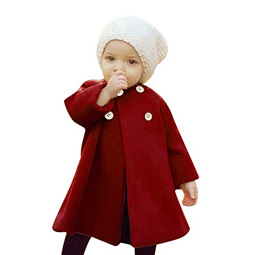 iYBUIA Autumn Winter Girls Kids Baby Solid Outwear Cloak Button Jacket Warm Coat Clothes(Wine,110) -