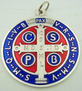 Silver Toned Base with Red and Blue Enamel Saint Benedict Medal 4 Inch