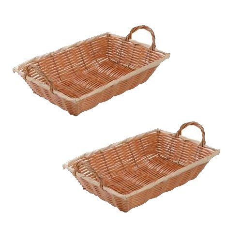 SET OF 2 - 12-Inch Commercial Grade Durable Plastic Woven Food Serving Storage Basket Baskets, Oblang Shape, w/Serving Handles Serving Basket