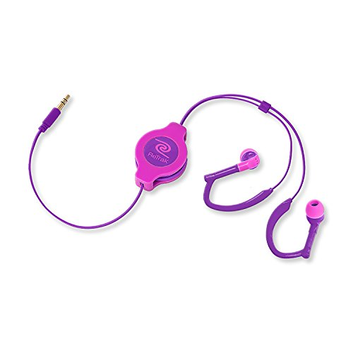 ReTrak ETAUDWPKRL Retractable Ear Buds for iOS and Android Devices, Neon Pink/Purple Sports