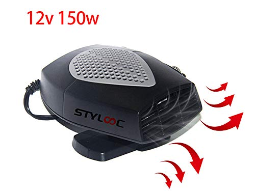 Portable Car Heater,60 Seconds Fast Heating Defrost Defogger Demister Vehicle Heat Cooling Fan 12V 150W Auto Ceramic Heater 3-Outlet Plug In Cigarette Lighter(Black)