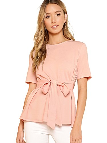 Romwe Womens Casual Self Tie Summer Round Neck Short Sleeve Blouse Tops