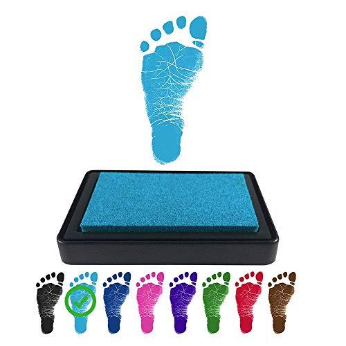 ReignDropBaby Baby Footprint Handprint Ink Pad - Create Impressive Keepsake Stamp - 100% Non-Toxic & Acid-Free Ink - Easy to Wipe/Wash Off Skin - Smudge Proof & Long Lasting Keepsakes (BLUE)