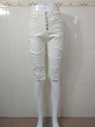 Sfilacciato I Estremità Jeans Sollevamento A Vita Dei Di Monopetto Signore Che Bianco Dimagriscono Pantaloni Pantaloncini Alta Matita Delle Sexy Bfgfpqx