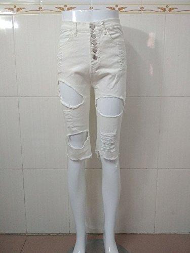 dchires effiloch Femmes Casual denim t Trou courts taille Cropped Jeans pantalons Skinny haute Blanc Pantalon FXwwdCq