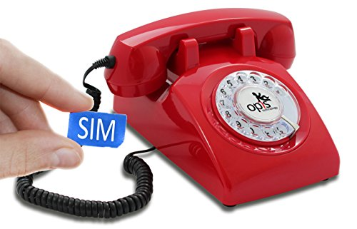 OPIS 60s MOBILE: (2G network) designer retro phone/rotary dial telephone/retro style phone/vintage telephone with cell phone technology (red)