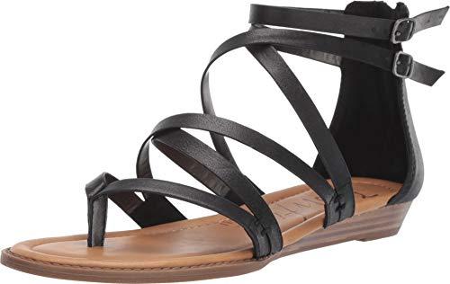Blowfish Women's Bungalow Sandal, Black Cosmic Metallic, 9 M - Strappy Womens Black Sandals