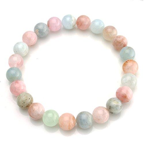 "BEADNOVA AAA Grade 6mm Morganite Beryls Gemstone Bracelet Semi Precious Gemstone Birthstone Round Beads Stretch Bracelet 7"""