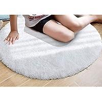 YJ.GWL Ivory White Shag Bath Rug Plush Non-Slip Shower Bath Mat Floor Mat with Water Absorbent Soft Microfibers 4 Feet
