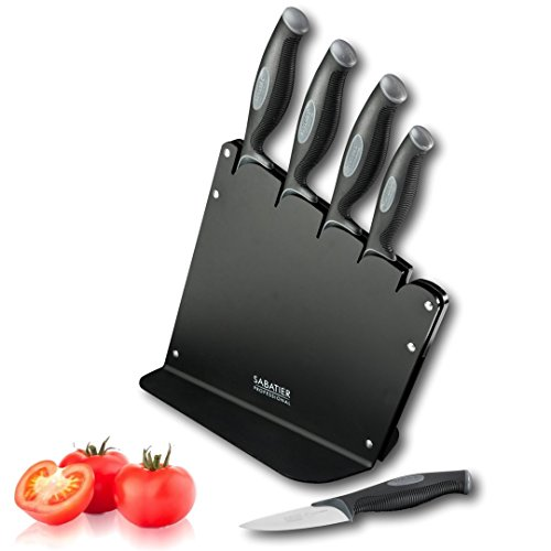 Sabatier Kitchen Knife Set Block - 5 piece. High Quality Chrome Molybdenum...