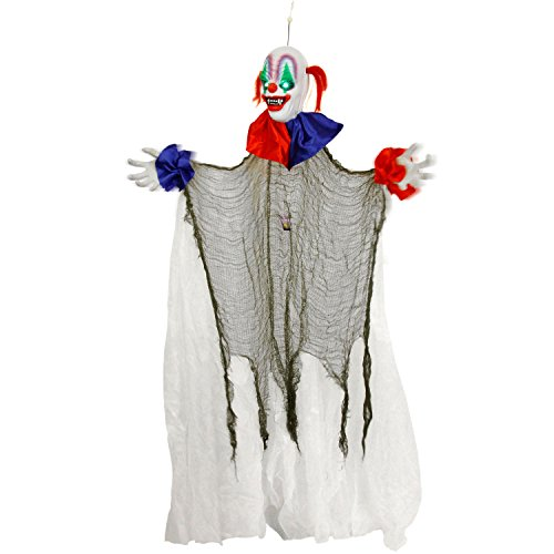 Halloween Haunters 5 Foot Animated Hanging Spinning Scary Circus Clown Prop Decoration - Evil Body Rotates, Music, Laughs, Eyes Strobe - Battery Operated