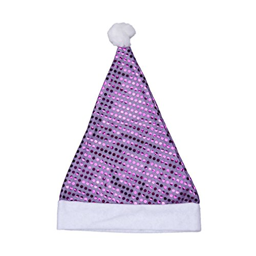 EOZY Christmas Holiday Party Accessory Santa Claus Solid Plush Costume Hat (E Purple Sequin) -