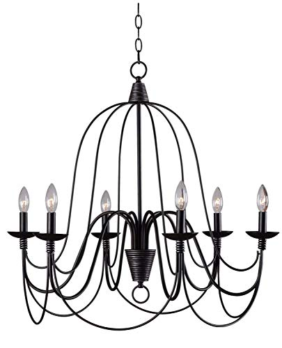 Kenroy Home 93066ORB Pannier 6-Light Chandelier, Blackened Oil Rubbed Bronze Early American Traditional Chandelier