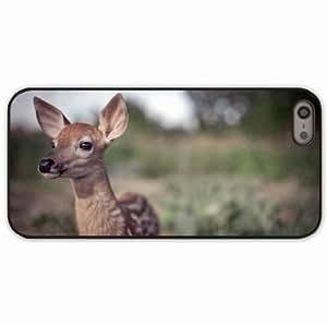 iPhone 5 5S Black Hardshell Case deer grass blur face Desin Images Protector Back Cover