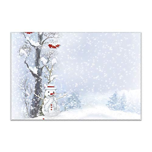 HHNYL Snowman Scarf Buttons Wood Berries Trees Snow Placemats Dining Table,Heat-Resistant Placemats,Stain Resistant Table Mats,Kitchen Table mats,Sets 6