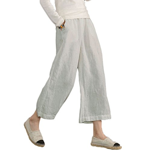 (Ecupper Womens Casual Loose Plus Size Elastic Waist Cotton Trouser Cropped Wide Leg Pants Light Grey)