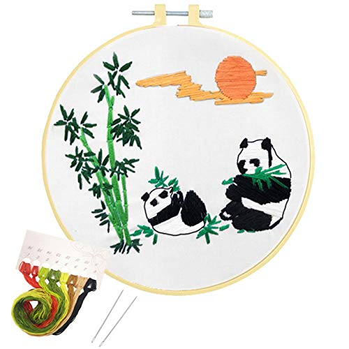 Nuberlic Embroidery Kit Cross Stitch Kit Cute Panda Starter Beginner Kit for Adults Kids Stamped with Pattern Embroidery Hoops Cloth Floss Thread Needles