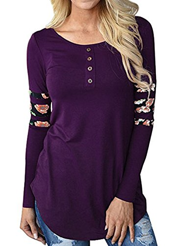 Longues Legendaryman T Tops Violet Casual Long t Manches Col Shirt Svelte Femmes Epissure Shirts Chemisiers Rond Imprim Haut Blouse Fashion qT04qr