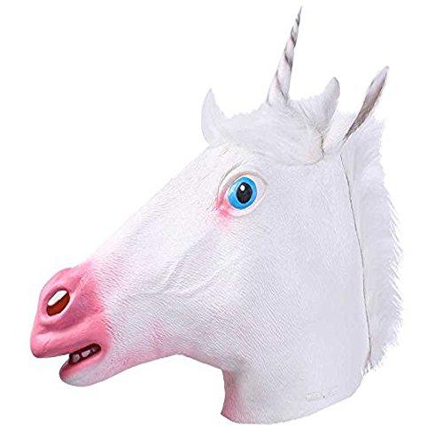 Cheap Made Halloween Costumes (HRToys Deluxe Novelty Halloween Costume Party Latex Animal Head Mask (Unicorn))
