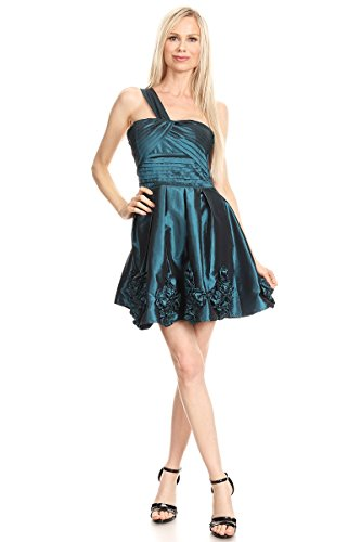 Sanjoy Short One Shoulder Pleated Prom and Party Dress (Medium), Blue Teal