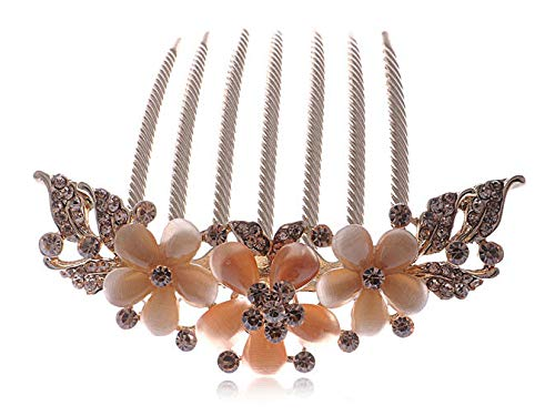 Rose Gold Flower Trio Light Topaz Rhinestone Peach Bead Fashion Hair Comb Clips