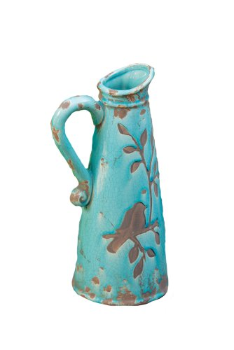 - Your Heart's Delight Birds 'n Branches Pottery Pitcher, 13 by 4-3/4-Inch, Turquoise