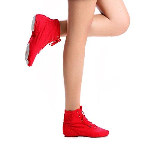 NLeahershoe Schnür-Segeltuch-Tanz beschuht flache Jazz-Stiefel für die Praxis, passend für Männer und Frauen (13.5M D (M) US / 29, Rot)