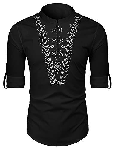 COOFANDY Men's Slim Fit Henley Shirt Long Sleeve Graphic Printed Casual Zip Up Cotton Linen Beach Wedding T Shirt (Black2, XX-Large)